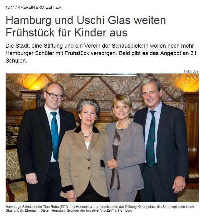 Hamburger Abendblatt mit Uschi Glas
